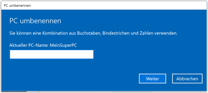 Windows 10 PC Umbennen Dialog
