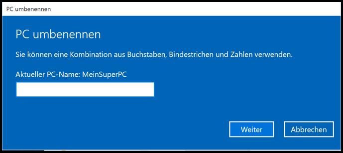 Windows 10 PC Umbennen Dialog