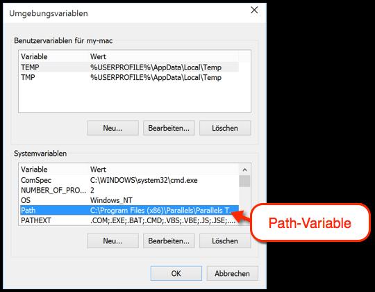 Path Variable bearbeiten
