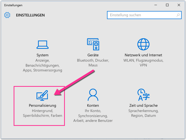 Windows 10 Personalisierungs-Einstellungen