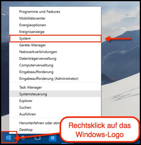 Windows 10 System Menü öffnen