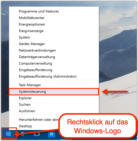 energieoptionen windows 10 taskleiste
