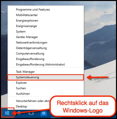 Windows 10 Systemsteuerung finden