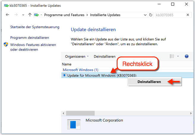 Windows 10 Update deinstallieren