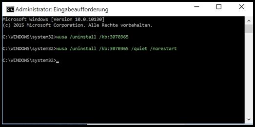 Windows 10 Updates deinstallation über Eingabeaufforderung CMD