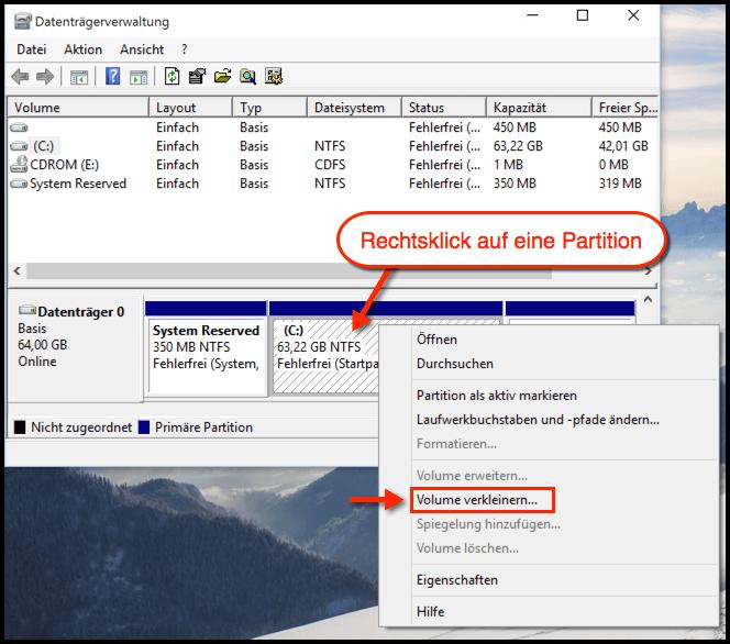 Partitionieren Windows 10