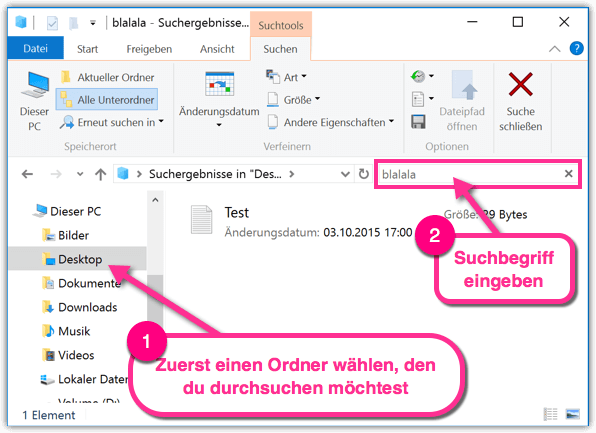 Windows 10 im Explorer-Suchen