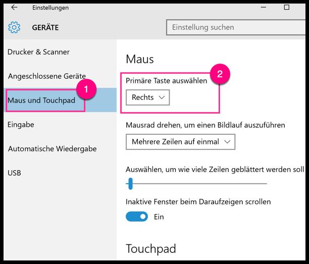 Windows 10 linke und rechte Maustaste vertauschen