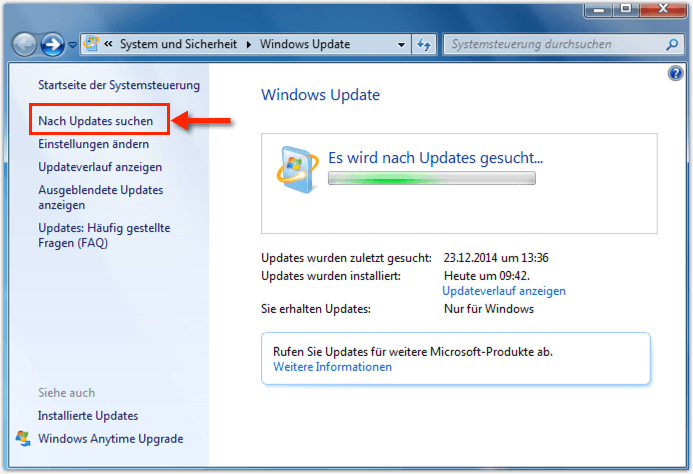 Windows 7 Nach Updates suchen