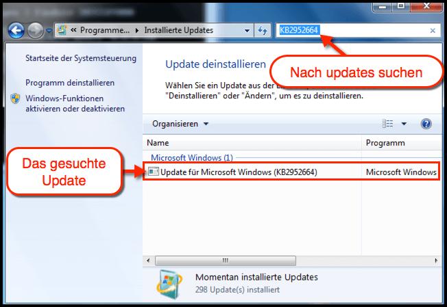 Windows 7 Prüfen ob Update installiert ist