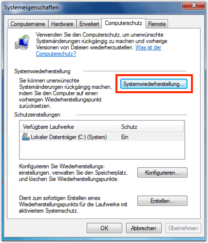 Windows 7 Systemwiederherstellung