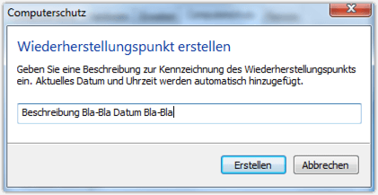 Windows 7 Widerherstellungspunkt Name