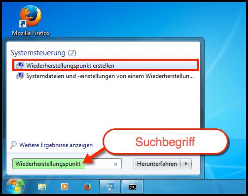 Windows 7 Wiederherstellungspunkt erstellen