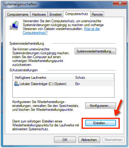Windows 7 Wiederhestellungspunkt
