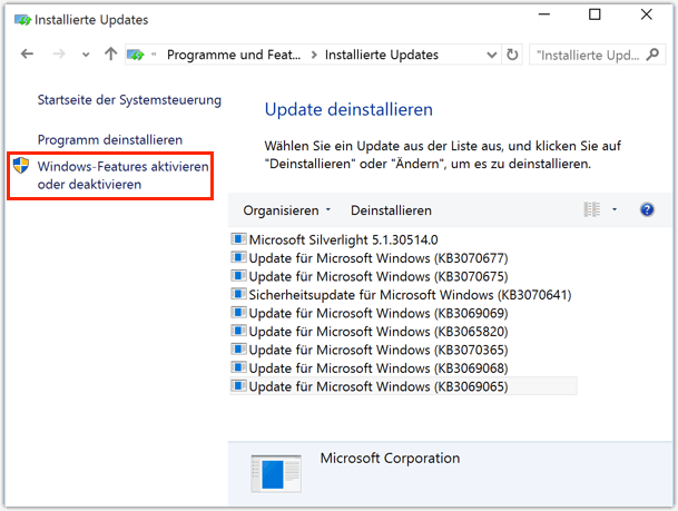 Windows-Features Antivieren Deaktivieren bei Win 10