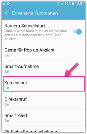 Wischgeste Screenshot