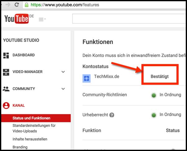 YouTube Kontostatus Bestätigen