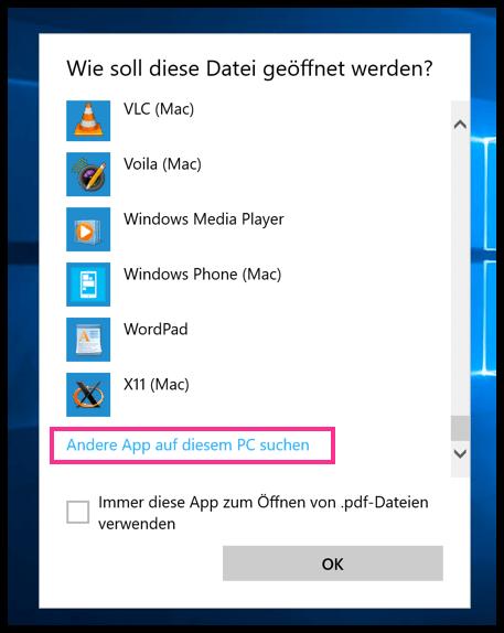 Andere Apps Auf diesem PC suchen Windows 10