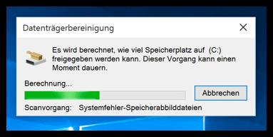 Datenträgerbereinigung bei Windows 10 wird ausgeführt