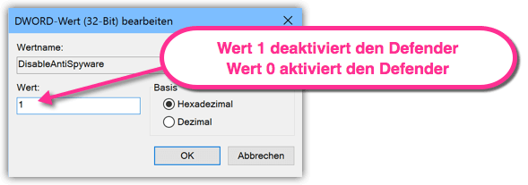 DisableAntiSpyware Wert 1