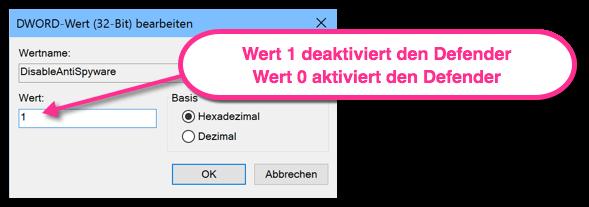 DisableAntiSpyware Wert 1