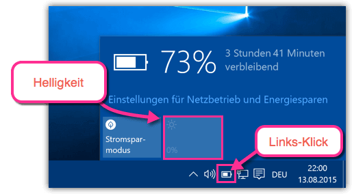 Helligkeit bei Windows 10 ueber Batteriesymbol