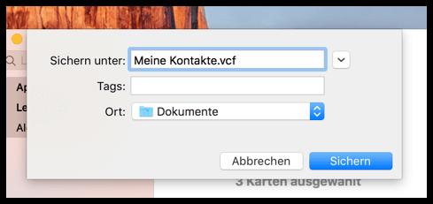 Mac OS X Kontakte als vcf sichern