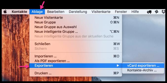 Mac OS X Kontakte exportieren