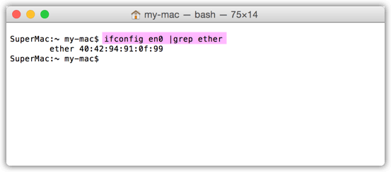 Mac ipconfig grep ether