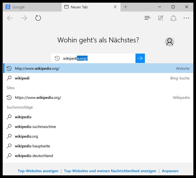 Microsoft Edge Webseitenvorschläge