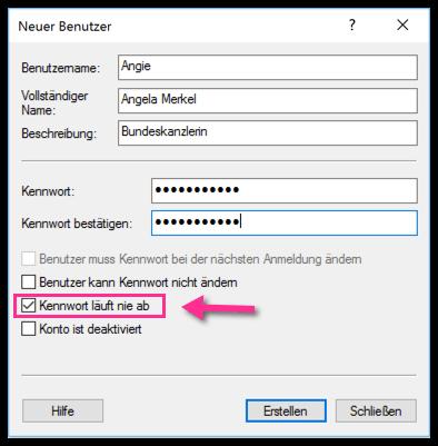 Neuer Benutzer mit lusrmgr.msc