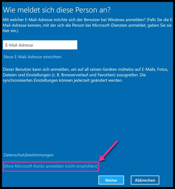 Ohne Microsoft-Konto anmelden