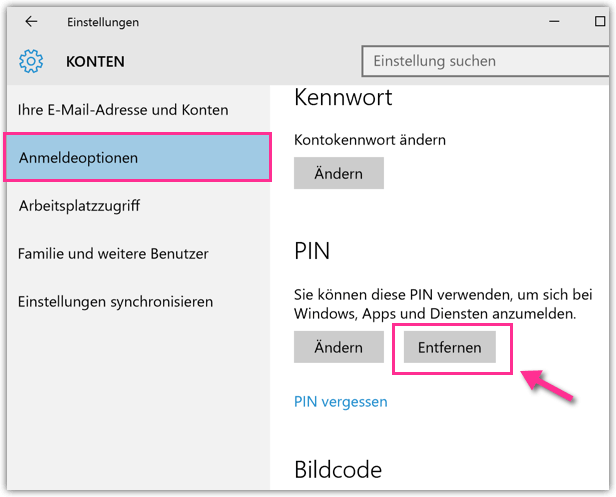 PIN entfernen in Windows 10