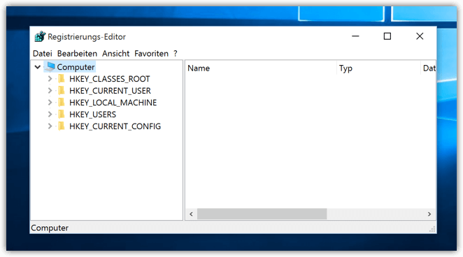 Registrierungs-Editor bei Windows 10