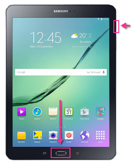 Samsung Galaxy Tab S2 Screenshot Tasten