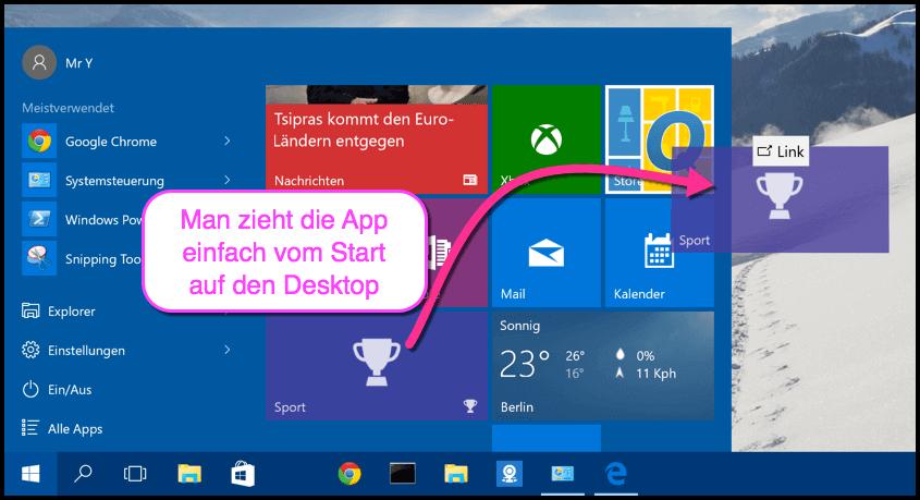 So erstellt man eine Desktopverknüpfung bei Windows 10