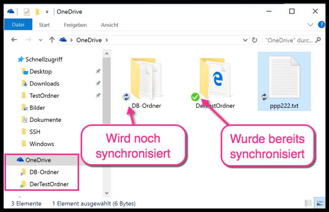 Synchronisierte OneDrive Ordner unter Windows