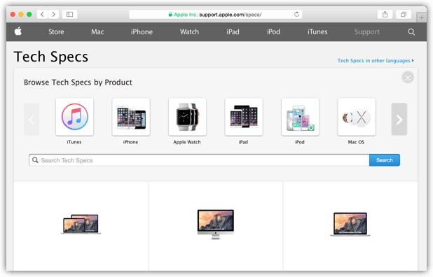 Tech Specs von Apple Produkten