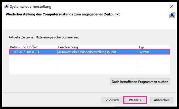 Wiederherstellungspunkt auswaehlen Windows 10