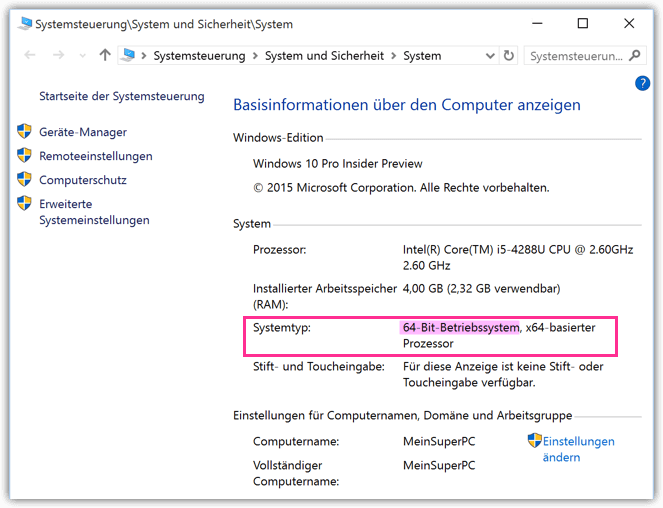 Windows 10 64 oder 32 bit System Check