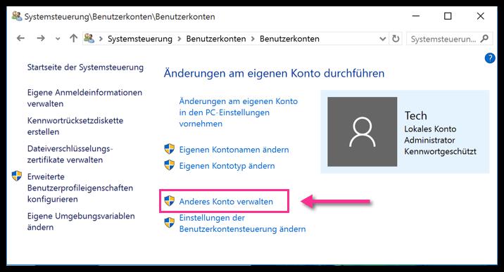 Windows 10 Anderes Konto verwalten