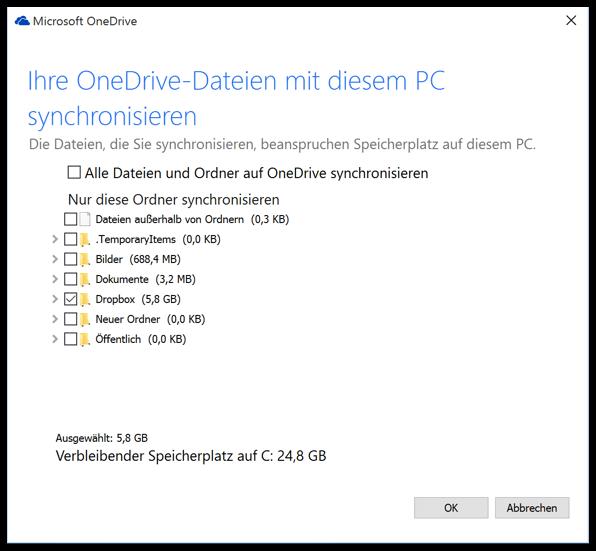 Windows 10 Auswal der One-Drive Ordner