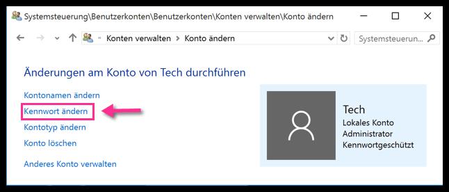 Windows 10 Benutzerkennwort ändern