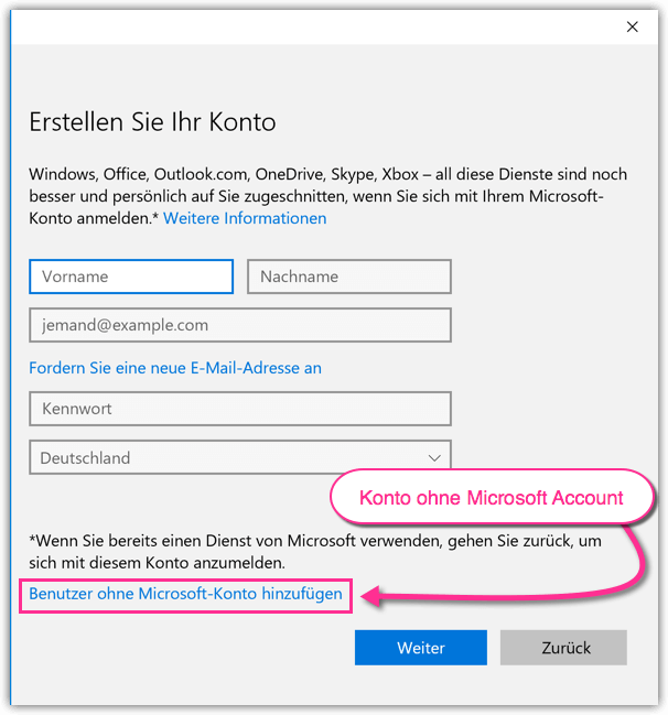 Windows 10 Benutzerkonto ohne Microsoft Account