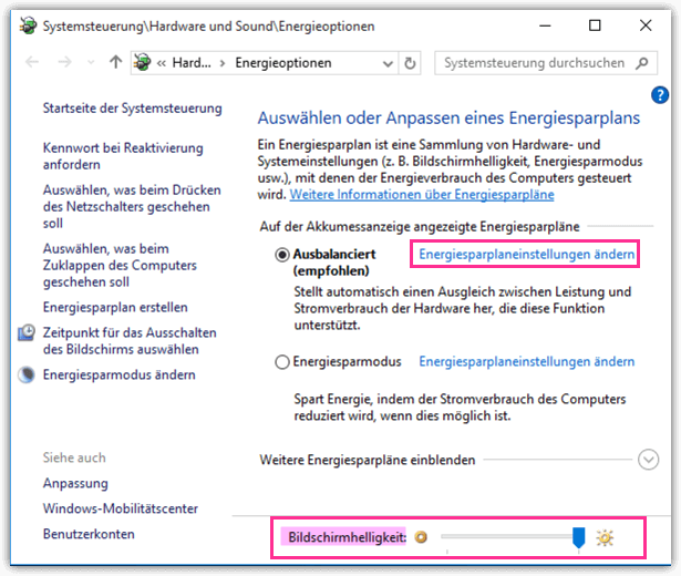 Windows 10 Bildschirmhelligkeit