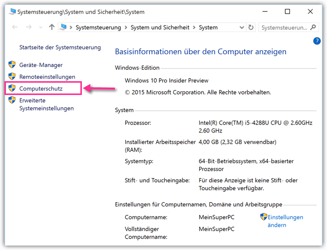 Windows 10 Computerschutz