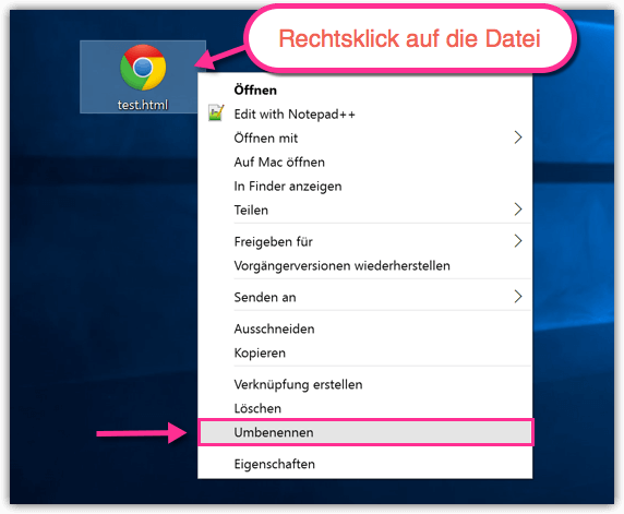 Windows 10 Datei umbenennen