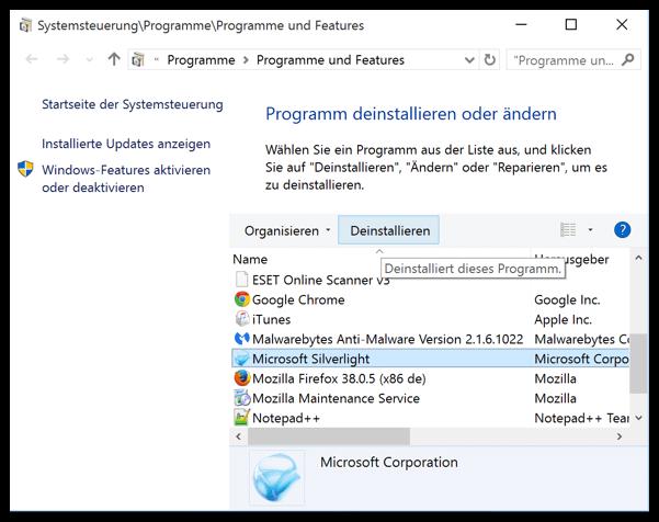 Windows 10 Desktop Programm deinstallieren