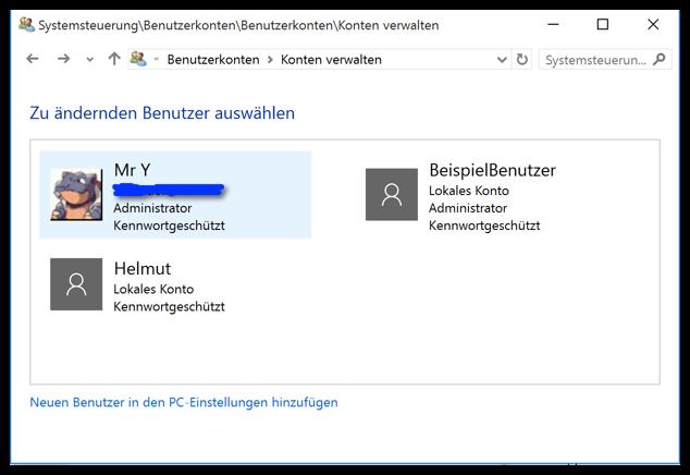 Windows 10 Einen Benutzer verwalten Auswahl