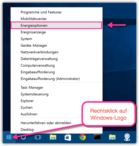 Windows 10 Energieoptionen